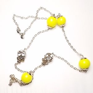 Ann Taylor Loft Silver Yellow Long Necklace Beaded
